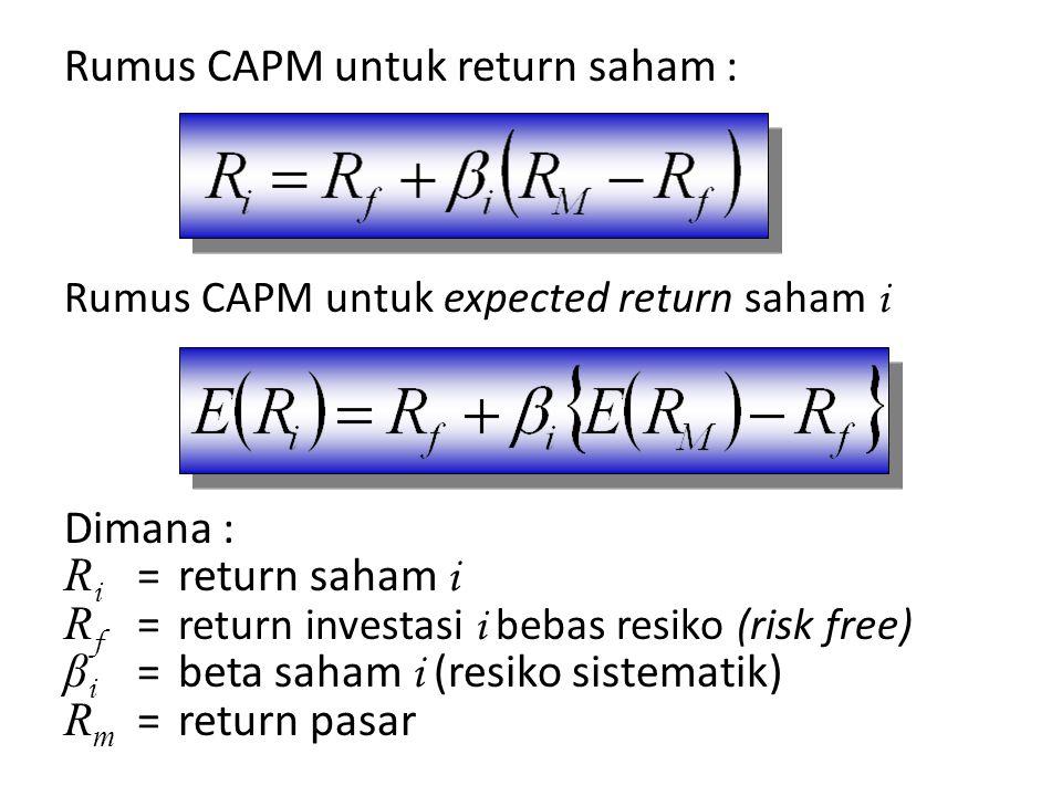 Rumus CAPM untuk return saham : Rumus CAPM untuk expected return saham i Dimana : R i =return saham i R f = return investasi i bebas resiko (risk free