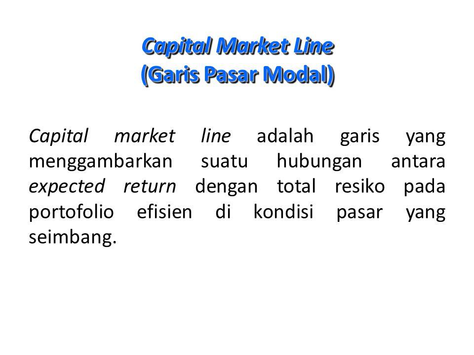 Capital Market Line (Garis Pasar Modal) Capital market line adalah garis yang menggambarkan suatu hubungan antara expected return dengan total resiko