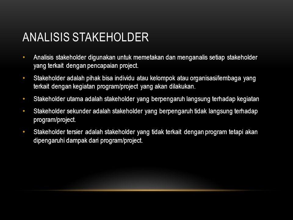 ANALISIS STAKEHOLDER Analisis stakeholder digunakan untuk memetakan dan menganalis setiap stakeholder yang terkait dengan pencapaian project. Stakehol