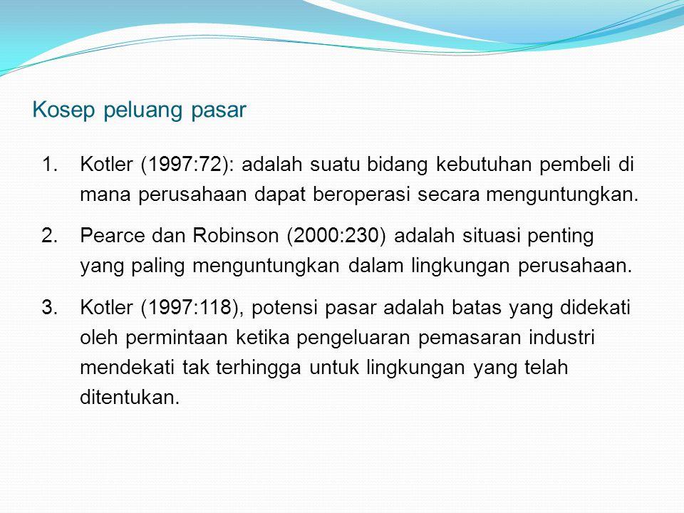 Kosep peluang pasar 1.Kotler (1997:72): adalah suatu bidang kebutuhan pembeli di mana perusahaan dapat beroperasi secara menguntungkan. 2.Pearce dan R