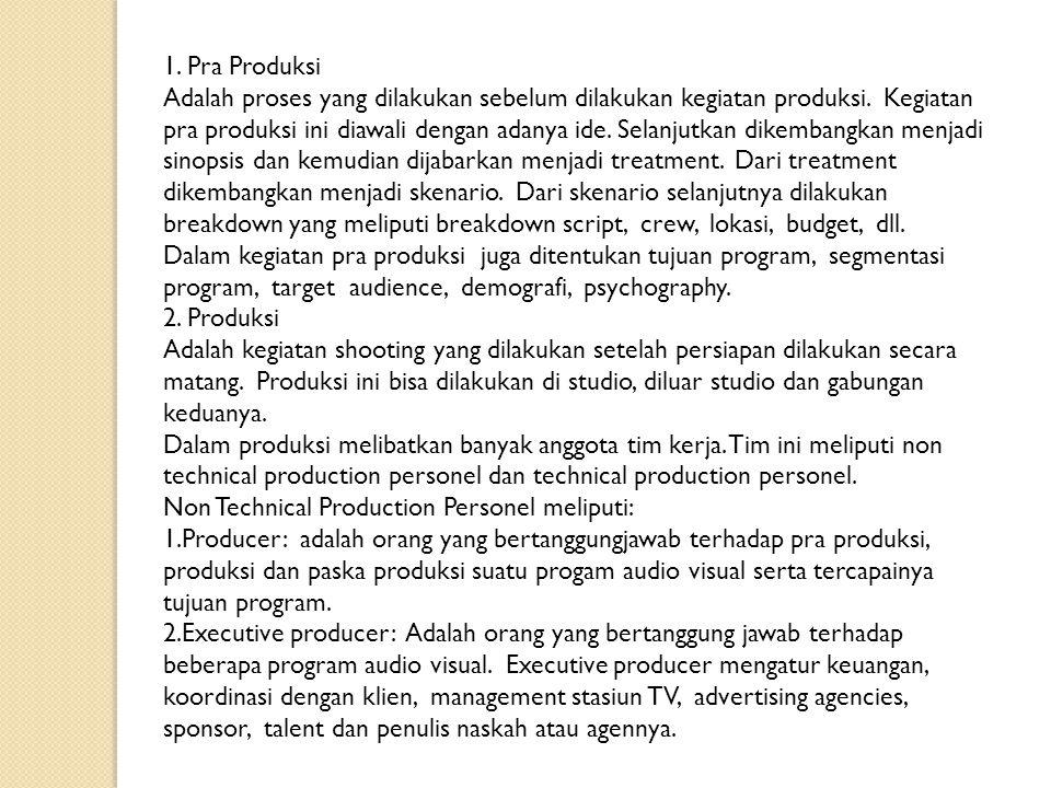 1. Pra Produksi Adalah proses yang dilakukan sebelum dilakukan kegiatan produksi. Kegiatan pra produksi ini diawali dengan adanya ide. Selanjutkan dik