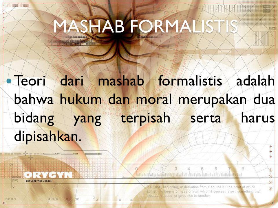 MASHAB FORMALISTIS Teori dari mashab formalistis adalah bahwa hukum dan moral merupakan dua bidang yang terpisah serta harus dipisahkan.