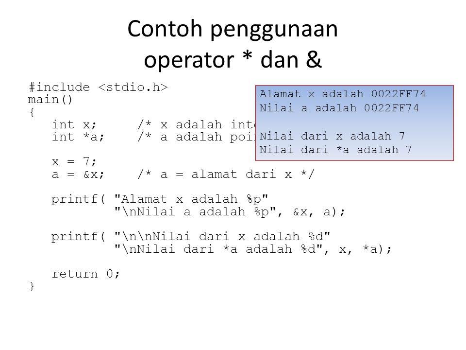 Contoh penggunaan operator * dan & #include main() { int x; /* x adalah integer */ int *a; /* a adalah pointer ke integer */ x = 7; a = &x; /* a = alamat dari x */ printf( Alamat x adalah %p \nNilai a adalah %p , &x, a); printf( \n\nNilai dari x adalah %d \nNilai dari *a adalah %d , x, *a); return 0; } Alamat x adalah 0022FF74 Nilai a adalah 0022FF74 Nilai dari x adalah 7 Nilai dari *a adalah 7