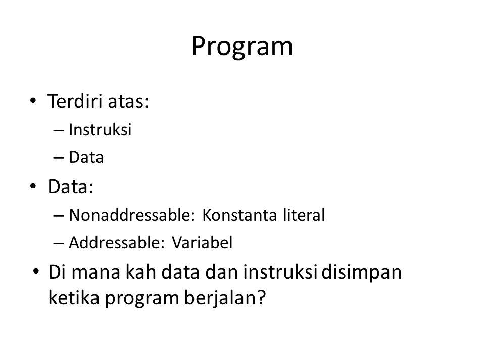 Program Terdiri atas: – Instruksi – Data Data: – Nonaddressable: Konstanta literal – Addressable: Variabel Di mana kah data dan instruksi disimpan ket
