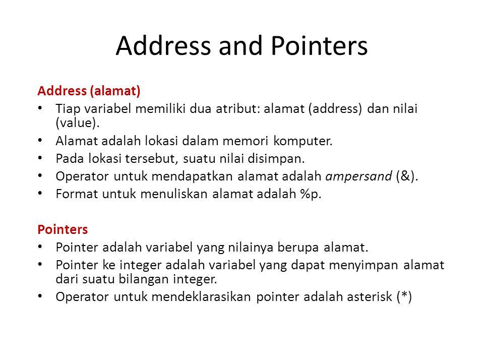 Pointer Pointer digunakan untuk memanipulasi memori komputer.