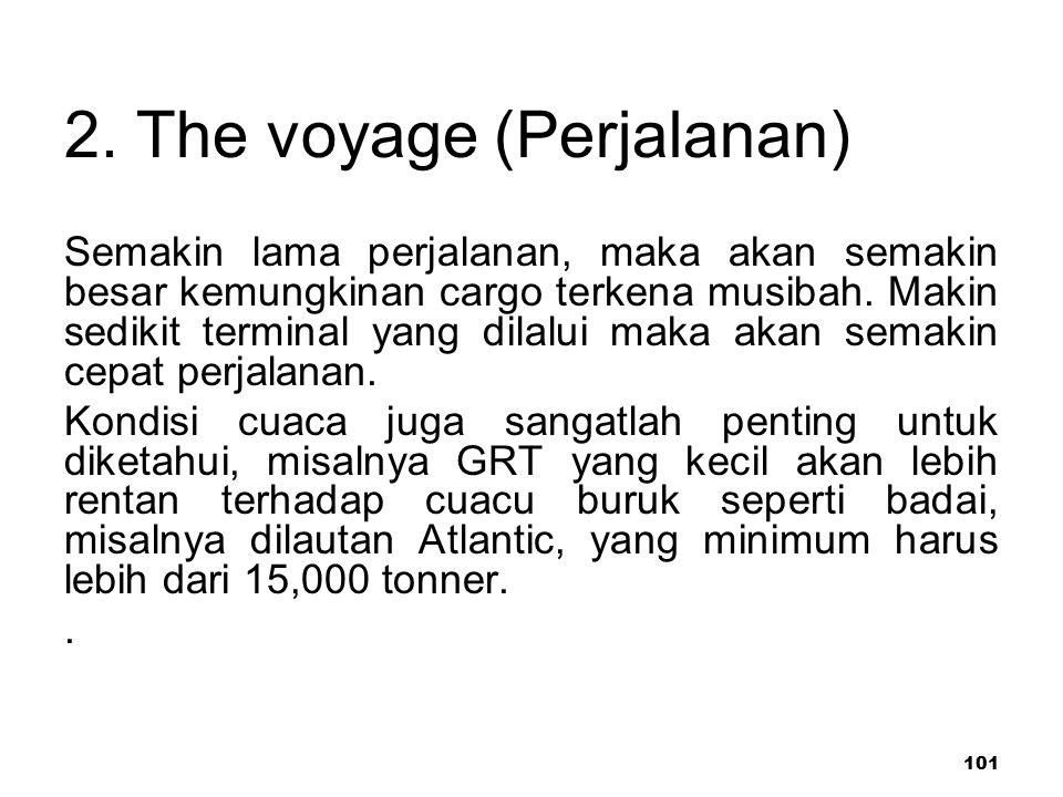 101 2. The voyage (Perjalanan) Semakin lama perjalanan, maka akan semakin besar kemungkinan cargo terkena musibah. Makin sedikit terminal yang dilalui