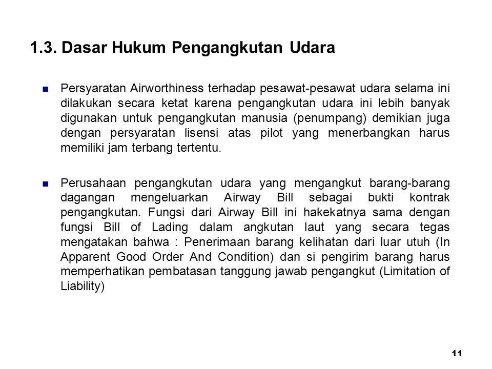 11 1.3. Dasar Hukum Pengangkutan Udara Persyaratan Airworthiness terhadap pesawat-pesawat udara selama ini dilakukan secara ketat karena pengangkutan