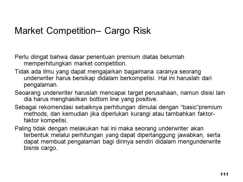 111 Market Competition– Cargo Risk Perlu diingat bahwa dasar penentuan premium diatas belumlah memperhitungkan market competition. Tidak ada ilmu yang