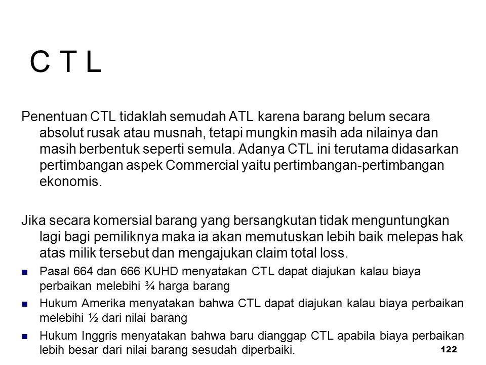 122 C T L Penentuan CTL tidaklah semudah ATL karena barang belum secara absolut rusak atau musnah, tetapi mungkin masih ada nilainya dan masih berbent