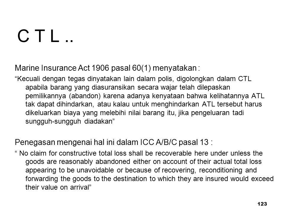 """123 C T L.. Marine Insurance Act 1906 pasal 60(1) menyatakan : """"Kecuali dengan tegas dinyatakan lain dalam polis, digolongkan dalam CTL apabila barang"""