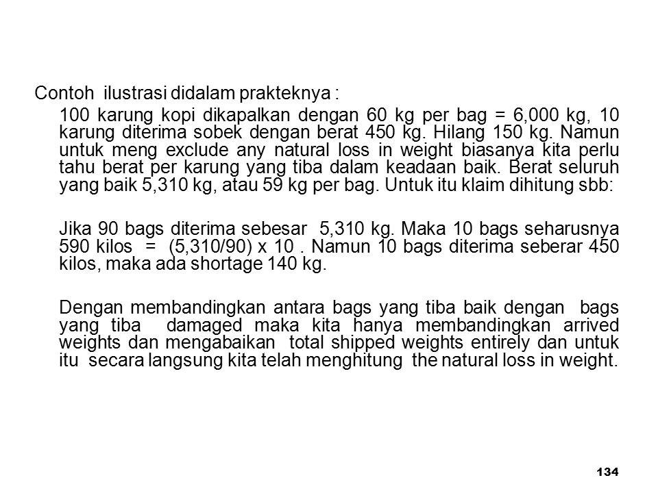 134 Contoh ilustrasi didalam prakteknya : 100 karung kopi dikapalkan dengan 60 kg per bag = 6,000 kg, 10 karung diterima sobek dengan berat 450 kg. Hi
