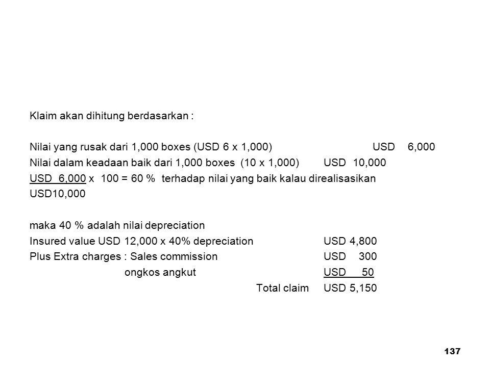137 Klaim akan dihitung berdasarkan : Nilai yang rusak dari 1,000 boxes (USD 6 x 1,000) USD 6,000 Nilai dalam keadaan baik dari 1,000 boxes (10 x 1,00