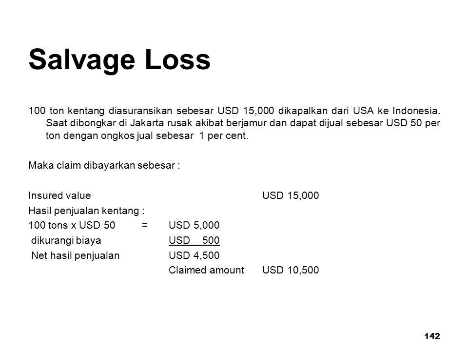 142 Salvage Loss 100 ton kentang diasuransikan sebesar USD 15,000 dikapalkan dari USA ke Indonesia. Saat dibongkar di Jakarta rusak akibat berjamur da