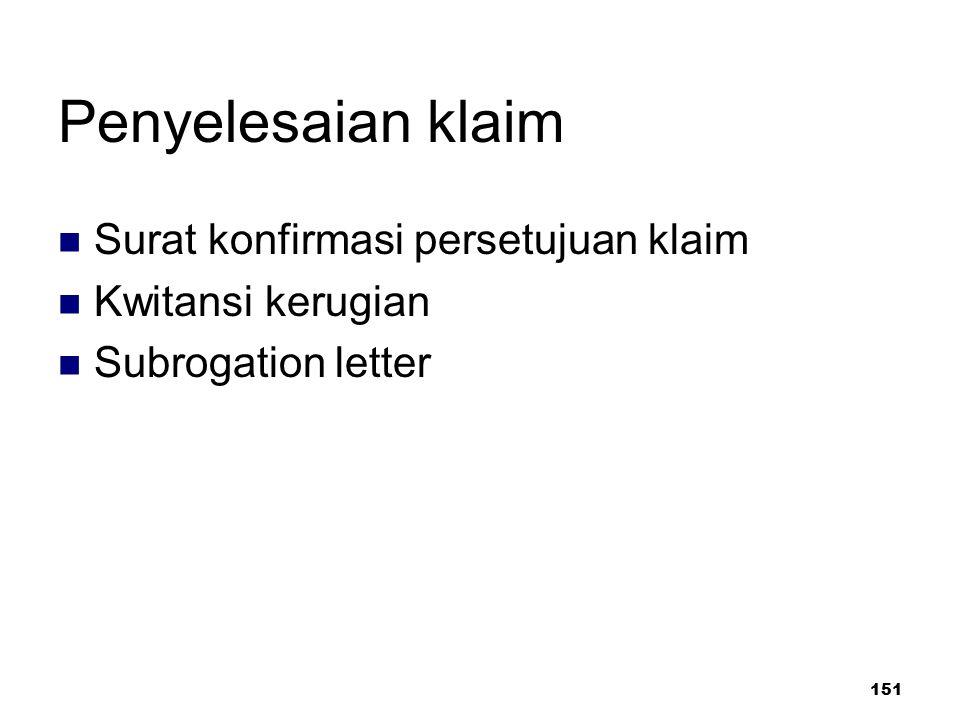 151 Penyelesaian klaim Surat konfirmasi persetujuan klaim Kwitansi kerugian Subrogation letter