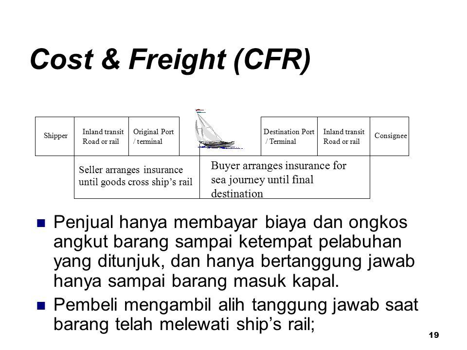 19 Cost & Freight (CFR) Penjual hanya membayar biaya dan ongkos angkut barang sampai ketempat pelabuhan yang ditunjuk, dan hanya bertanggung jawab han