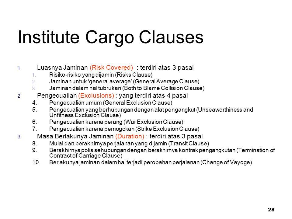 28 Institute Cargo Clauses 1. Luasnya Jaminan (Risk Covered) : terdiri atas 3 pasal 1. Risiko-risiko yang dijamin (Risks Clause) 2. Jaminan untuk 'gen