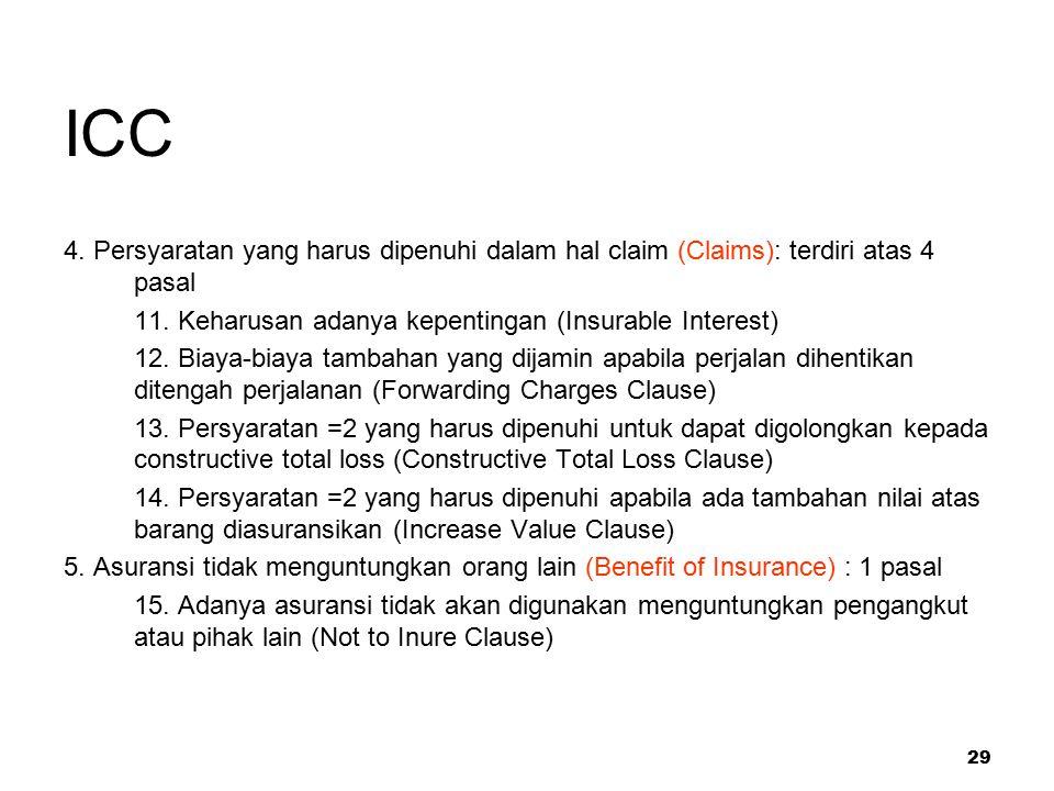 29 ICC 4. Persyaratan yang harus dipenuhi dalam hal claim (Claims): terdiri atas 4 pasal 11. Keharusan adanya kepentingan (Insurable Interest) 12. Bia