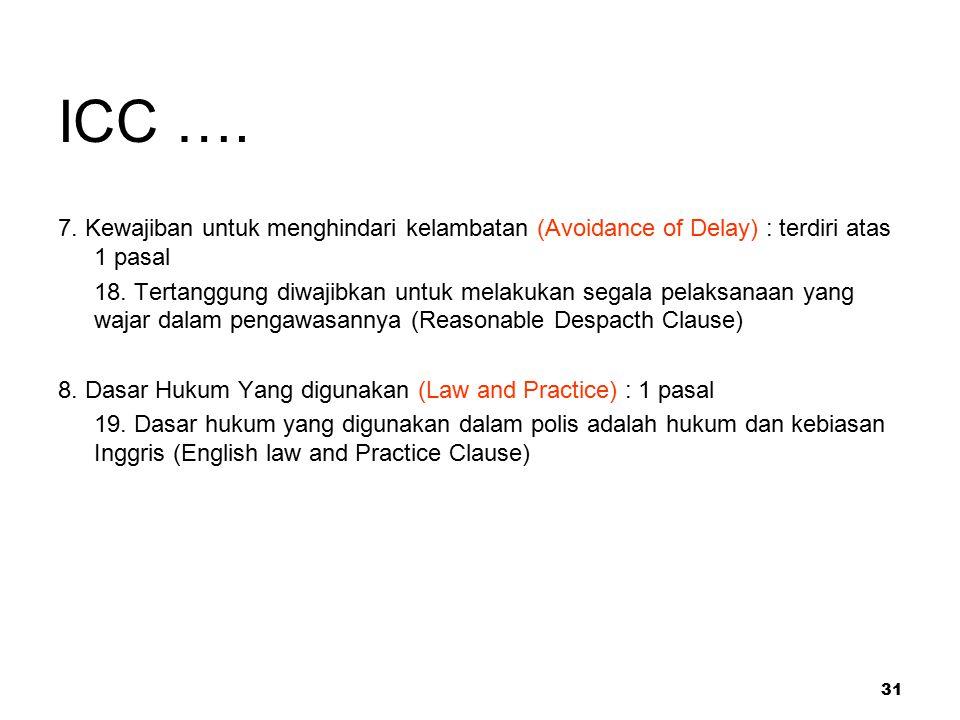 31 ICC …. 7. Kewajiban untuk menghindari kelambatan (Avoidance of Delay) : terdiri atas 1 pasal 18. Tertanggung diwajibkan untuk melakukan segala pela
