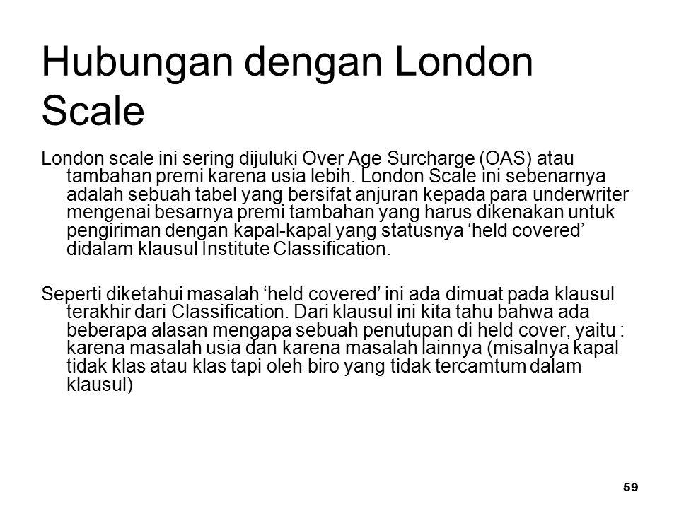 59 Hubungan dengan London Scale London scale ini sering dijuluki Over Age Surcharge (OAS) atau tambahan premi karena usia lebih. London Scale ini sebe