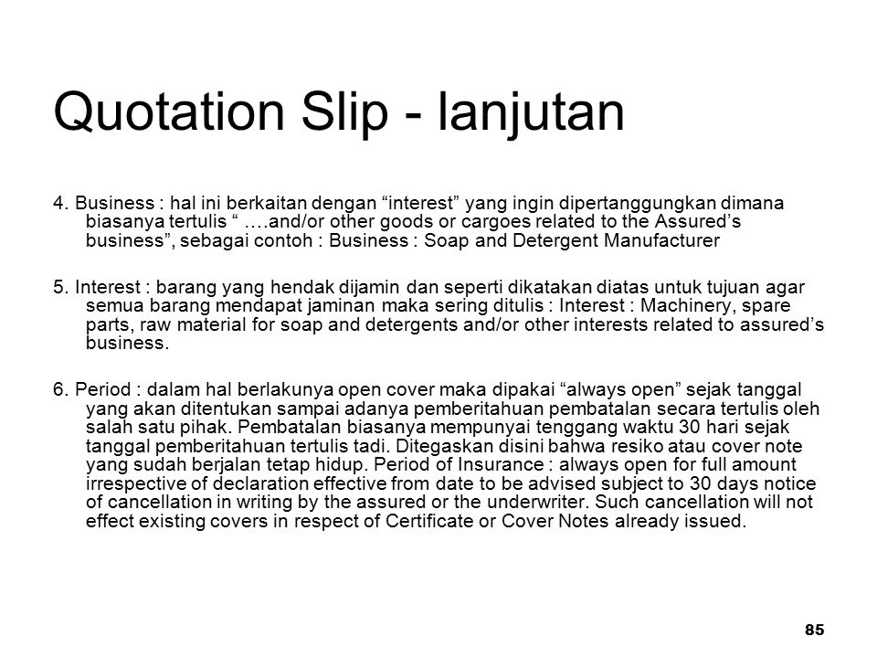 85 Quotation Slip - lanjutan 4.