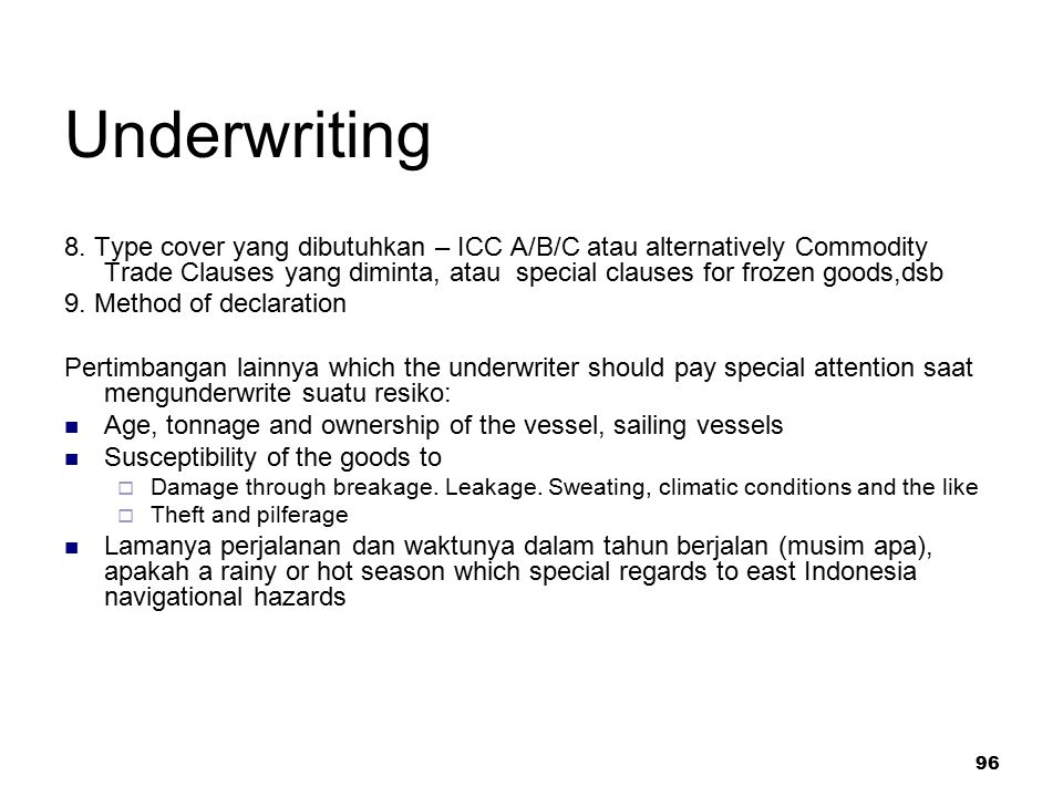 96 Underwriting 8.