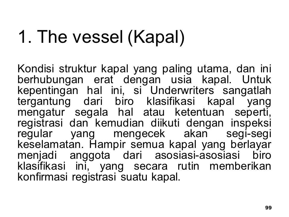 99 1. The vessel (Kapal) Kondisi struktur kapal yang paling utama, dan ini berhubungan erat dengan usia kapal. Untuk kepentingan hal ini, si Underwrit