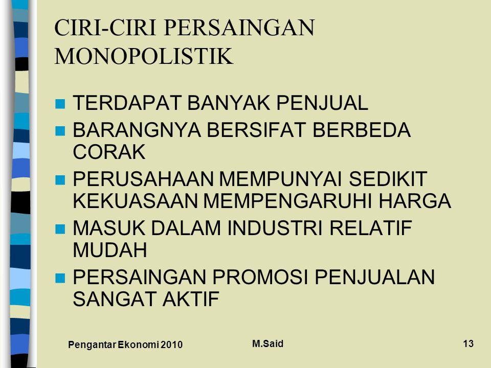 Pengantar Ekonomi 2010 M.Said13 CIRI-CIRI PERSAINGAN MONOPOLISTIK TERDAPAT BANYAK PENJUAL BARANGNYA BERSIFAT BERBEDA CORAK PERUSAHAAN MEMPUNYAI SEDIKIT KEKUASAAN MEMPENGARUHI HARGA MASUK DALAM INDUSTRI RELATIF MUDAH PERSAINGAN PROMOSI PENJUALAN SANGAT AKTIF