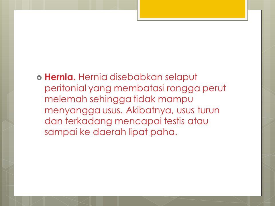  Hernia. Hernia disebabkan selaput peritonial yang membatasi rongga perut melemah sehingga tidak mampu menyangga usus. Akibatnya, usus turun dan terk