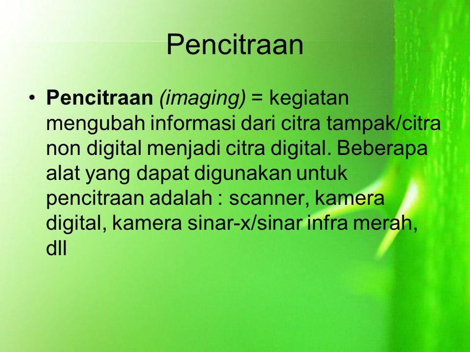 Pencitraan Pencitraan (imaging) = kegiatan mengubah informasi dari citra tampak/citra non digital menjadi citra digital. Beberapa alat yang dapat digu