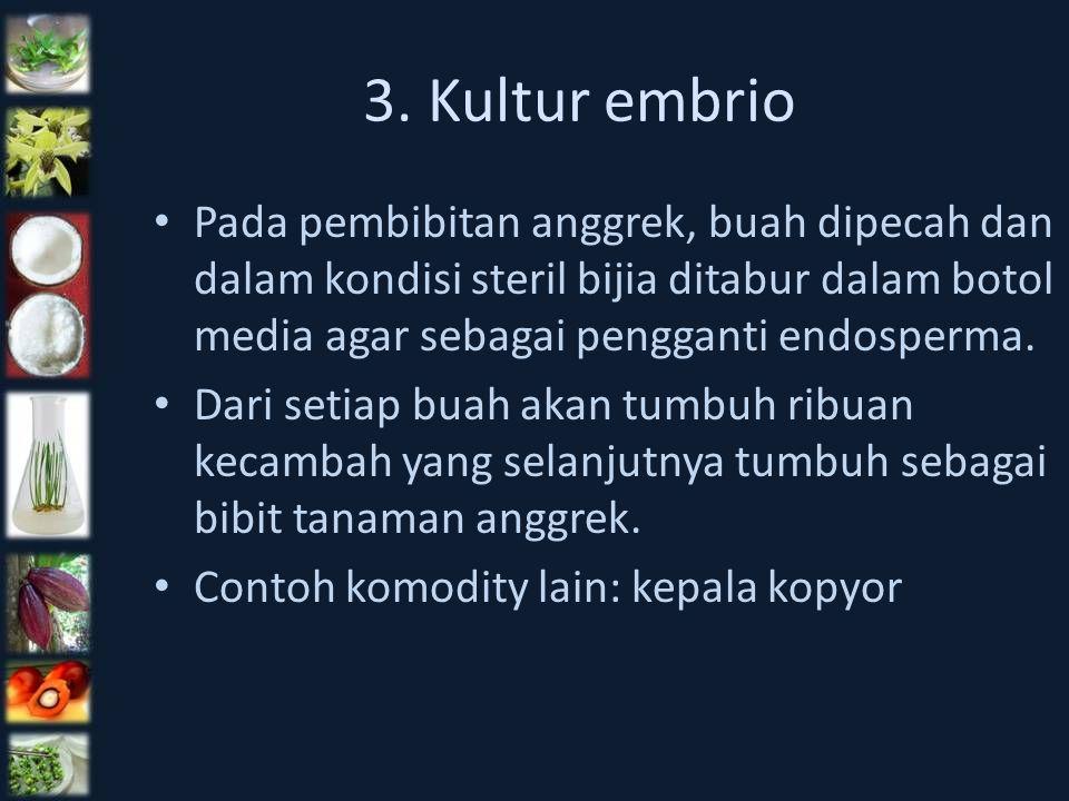 3. Kultur embrio Pada pembibitan anggrek, buah dipecah dan dalam kondisi steril bijia ditabur dalam botol media agar sebagai pengganti endosperma. Dar