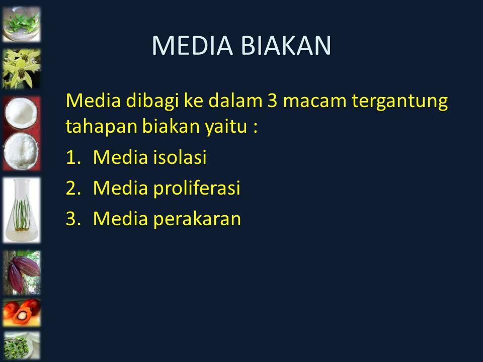 MEDIA BIAKAN Media dibagi ke dalam 3 macam tergantung tahapan biakan yaitu : 1.Media isolasi 2.Media proliferasi 3.Media perakaran Media dibagi ke dal