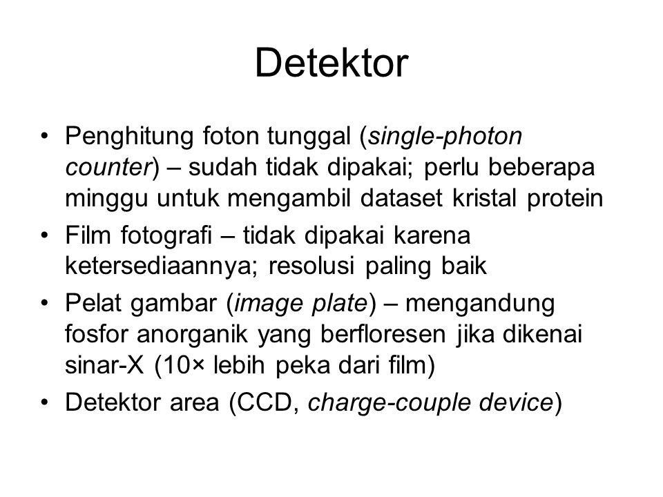 Detektor Penghitung foton tunggal (single-photon counter) – sudah tidak dipakai; perlu beberapa minggu untuk mengambil dataset kristal protein Film fotografi – tidak dipakai karena ketersediaannya; resolusi paling baik Pelat gambar (image plate) – mengandung fosfor anorganik yang berfloresen jika dikenai sinar-X (10× lebih peka dari film) Detektor area (CCD, charge-couple device)