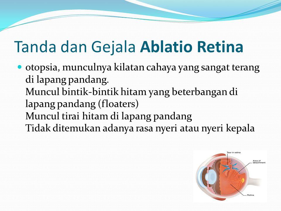 Tanda dan Gejala Ablatio Retina otopsia, munculnya kilatan cahaya yang sangat terang di lapang pandang. Muncul bintik-bintik hitam yang beterbangan di
