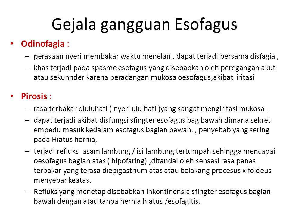 Gejala gangguan Esofagus Odinofagia : – perasaan nyeri membakar waktu menelan, dapat terjadi bersama disfagia, – khas terjadi pada spasme esofagus yan