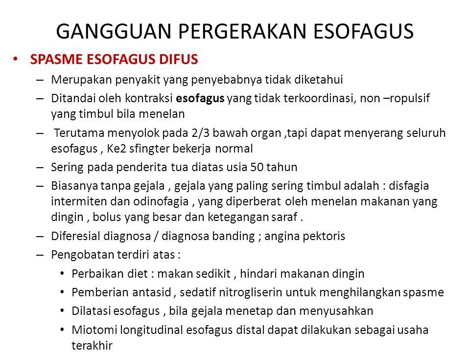GANGGUAN PERGERAKAN ESOFAGUS SPASME ESOFAGUS DIFUS – Merupakan penyakit yang penyebabnya tidak diketahui – Ditandai oleh kontraksi esofagus yang tidak