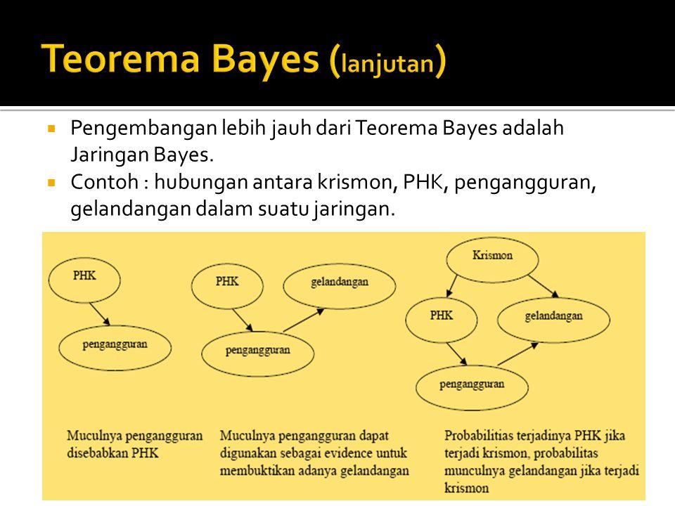  Pengembangan lebih jauh dari Teorema Bayes adalah Jaringan Bayes.  Contoh : hubungan antara krismon, PHK, pengangguran, gelandangan dalam suatu jar