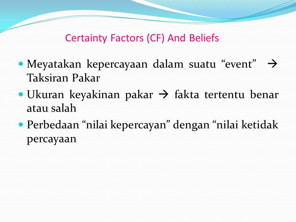 """Meyatakan kepercayaan dalam suatu """"event""""  Taksiran Pakar Ukuran keyakinan pakar  fakta tertentu benar atau salah Perbedaan """"nilai kepercayan"""" denga"""