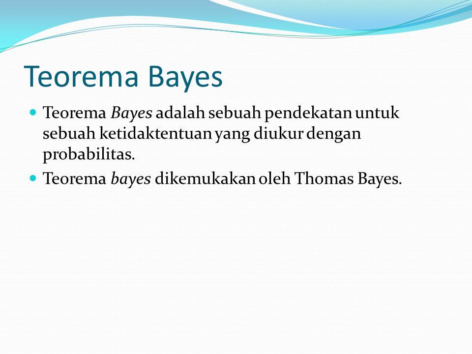Teorema Bayes Teorema Bayes adalah sebuah pendekatan untuk sebuah ketidaktentuan yang diukur dengan probabilitas. Teorema bayes dikemukakan oleh Thoma