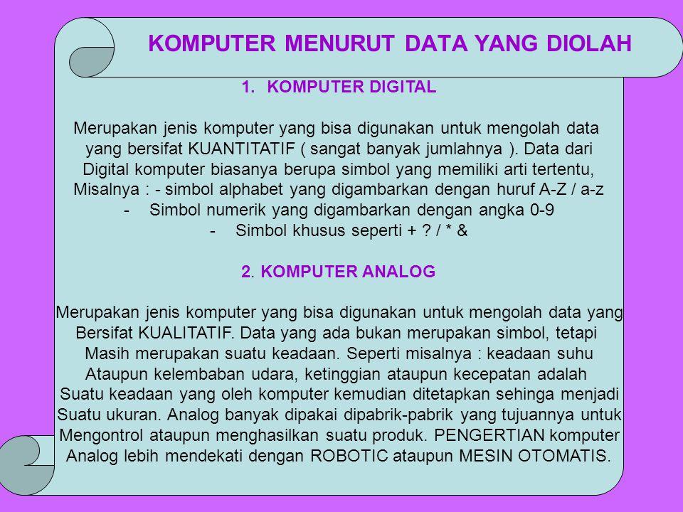 1.KOMPUTER DIGITAL Merupakan jenis komputer yang bisa digunakan untuk mengolah data yang bersifat KUANTITATIF ( sangat banyak jumlahnya ). Data dari D