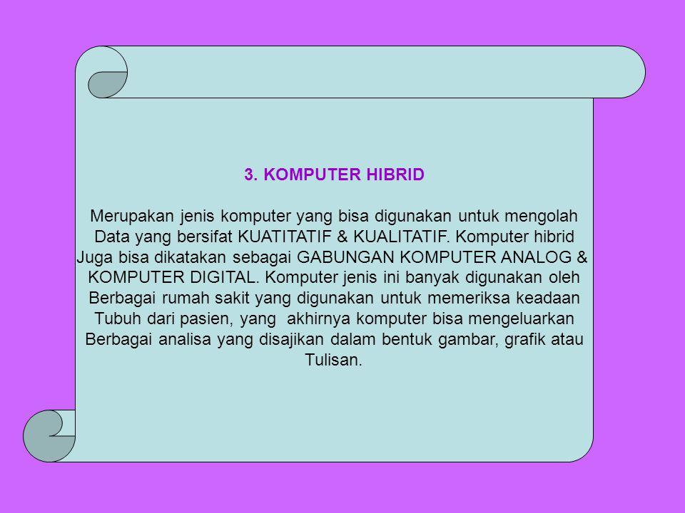 3. KOMPUTER HIBRID Merupakan jenis komputer yang bisa digunakan untuk mengolah Data yang bersifat KUATITATIF & KUALITATIF. Komputer hibrid Juga bisa d