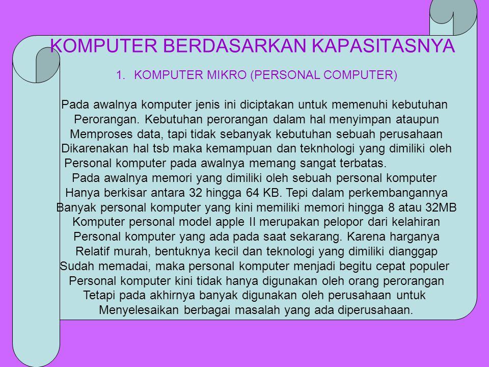 1.KOMPUTER MIKRO (PERSONAL COMPUTER) Pada awalnya komputer jenis ini diciptakan untuk memenuhi kebutuhan Perorangan. Kebutuhan perorangan dalam hal me