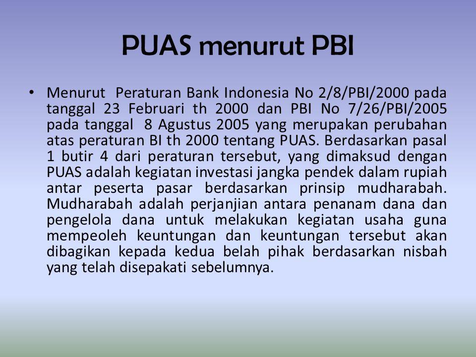 PUAS menurut PBI Menurut Peraturan Bank Indonesia No 2/8/PBI/2000 pada tanggal 23 Februari th 2000 dan PBI No 7/26/PBI/2005 pada tanggal 8 Agustus 2005 yang merupakan perubahan atas peraturan BI th 2000 tentang PUAS.