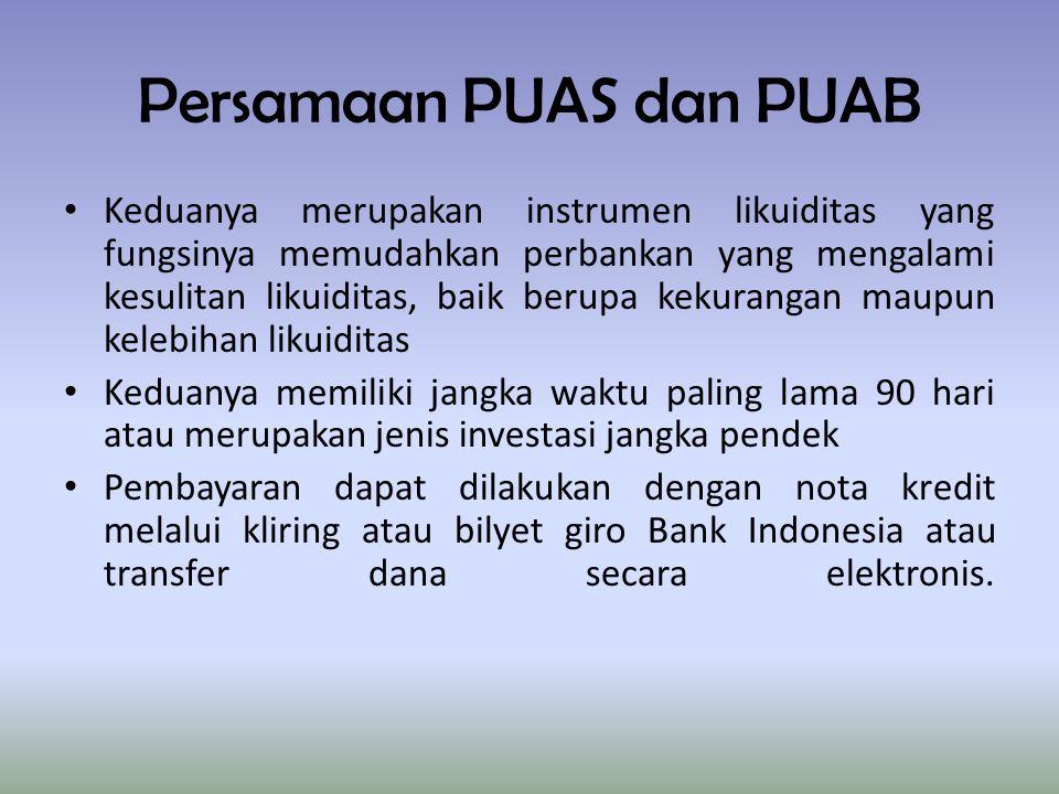 Persamaan PUAS dan PUAB Keduanya merupakan instrumen likuiditas yang fungsinya memudahkan perbankan yang mengalami kesulitan likuiditas, baik berupa k