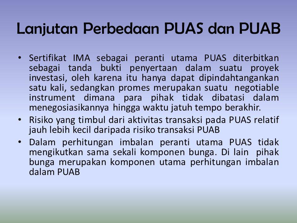 Lanjutan Perbedaan PUAS dan PUAB Sertifikat IMA sebagai peranti utama PUAS diterbitkan sebagai tanda bukti penyertaan dalam suatu proyek investasi, ol