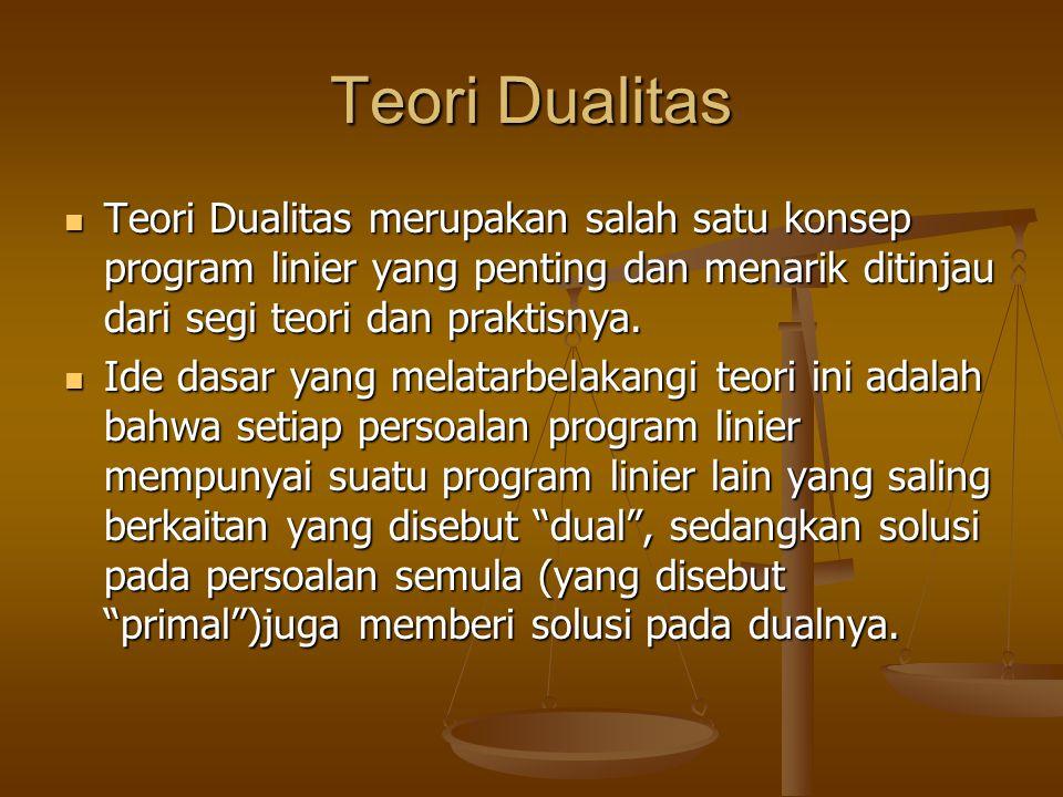 Teori Dualitas Teori Dualitas merupakan salah satu konsep program linier yang penting dan menarik ditinjau dari segi teori dan praktisnya. Teori Duali