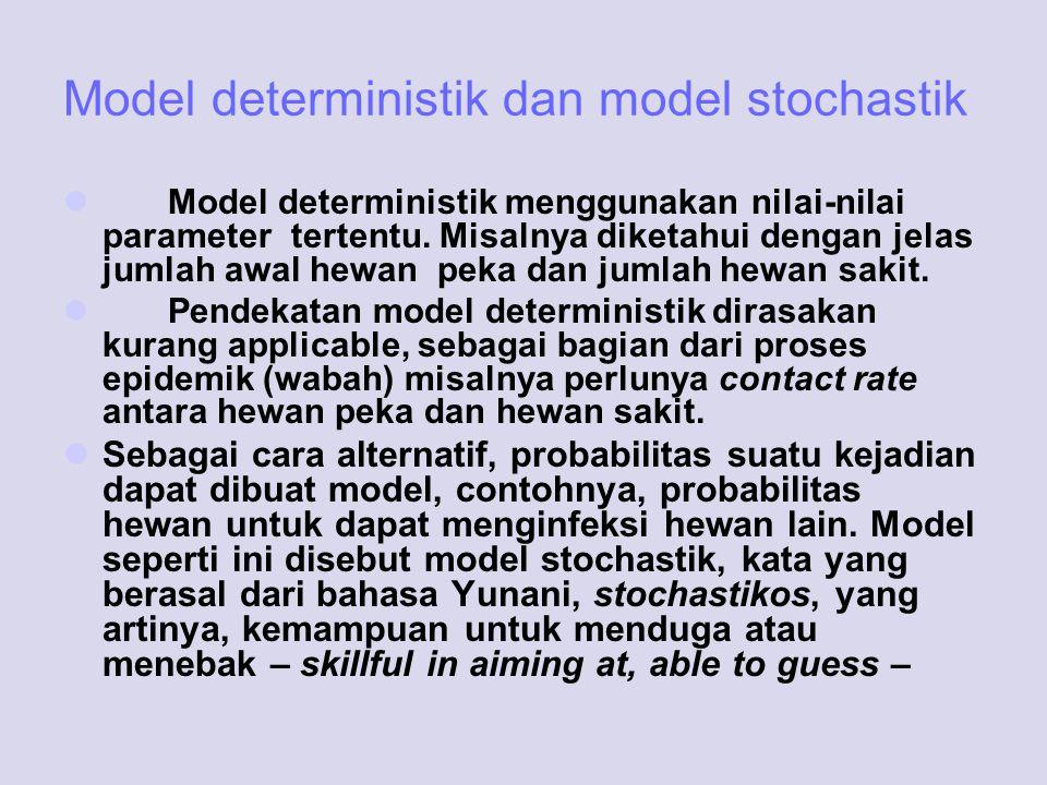 Model deterministik dan model stochastik Model deterministik menggunakan nilai-nilai parameter tertentu. Misalnya diketahui dengan jelas jumlah awal h