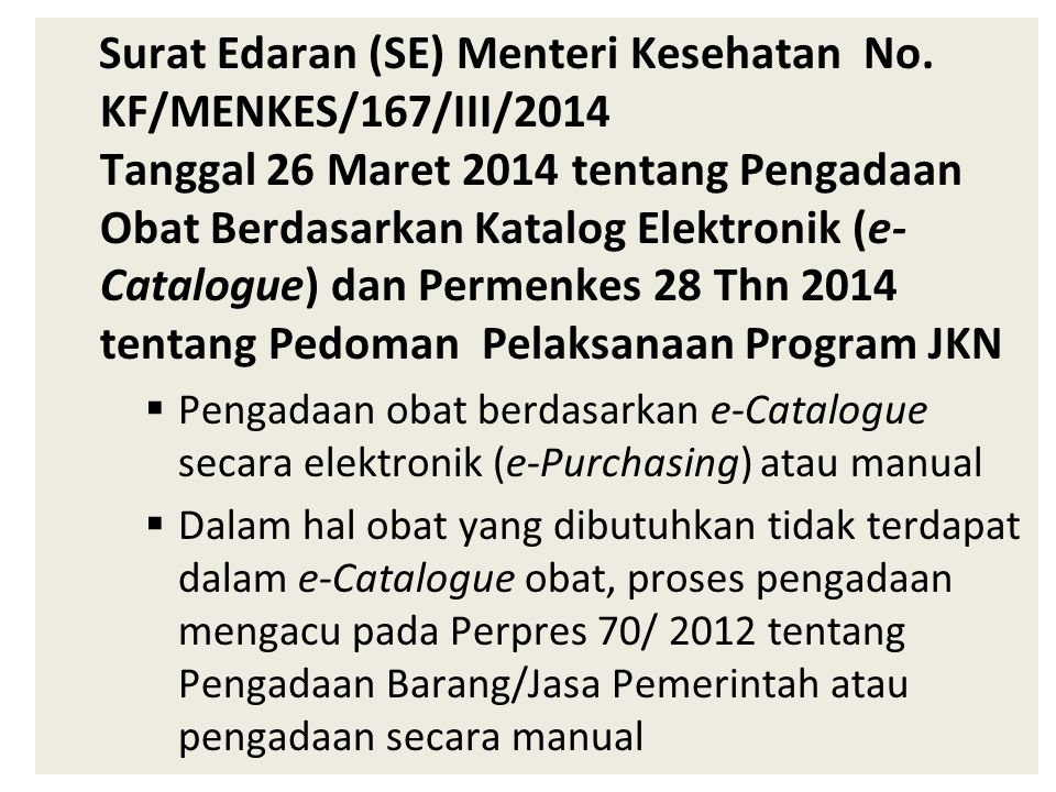 Surat Edaran (SE) Menteri Kesehatan No.