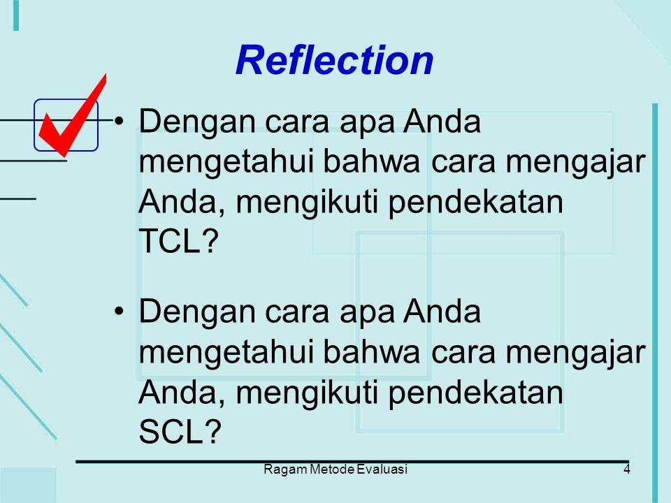 Ragam Metode Evaluasi5 Karakteristik Evaluasi dan Penilaian (Assessment) yang Efektif di Pendidikan Tinggi (Angelo and Cross, 1993) Fokus pada proses maupun hasil pembelajaran.