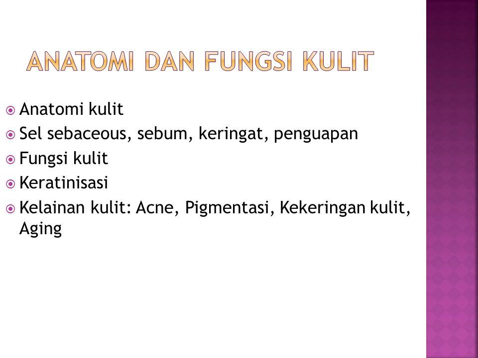  Anatomi kulit  Sel sebaceous, sebum, keringat, penguapan  Fungsi kulit  Keratinisasi  Kelainan kulit: Acne, Pigmentasi, Kekeringan kulit, Aging