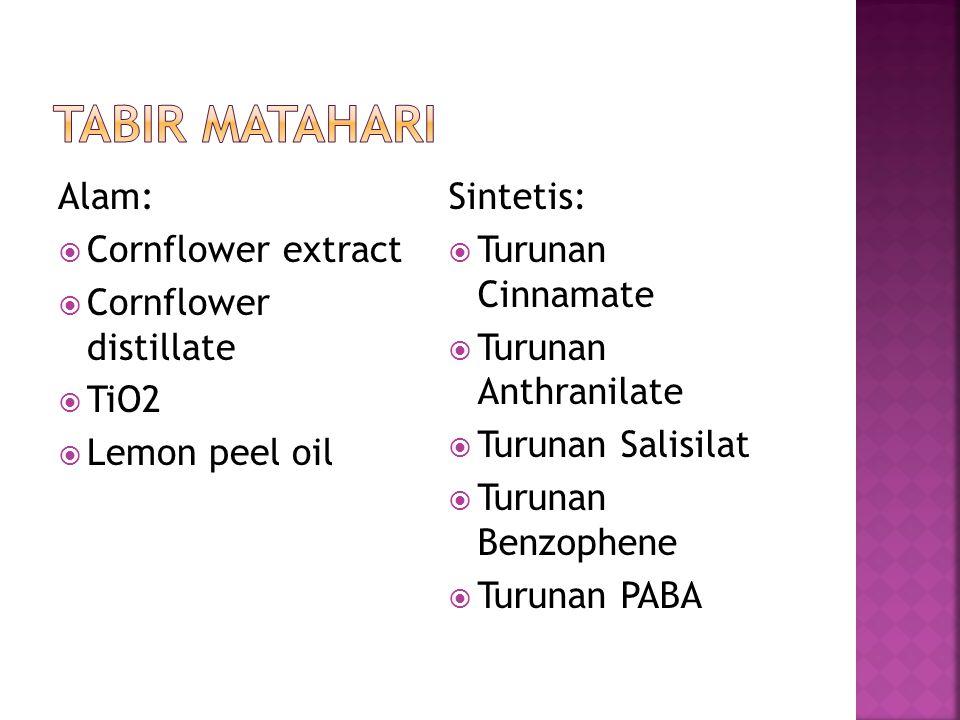 Alam:  Cornflower extract  Cornflower distillate  TiO2  Lemon peel oil Sintetis:  Turunan Cinnamate  Turunan Anthranilate  Turunan Salisilat 